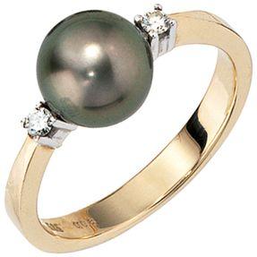 Damenring Ring mit Brillanten Tahiti-Perle 585 Gelbgold