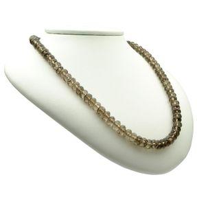 Kette Halskette Collier aus Rauchquarz & 925 Silber, braun, Damen