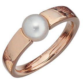 Ring, Damenring mit Süßwasser-Perle & 585 Rotgold Gold