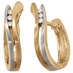 Ohrschmuck, Creolen, 6 Diamant-Brillanten, 585 Gelbgold