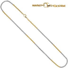 Zopfkette Kette Collier aus 585 Gold gelb/weiß, 42cm
