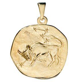 Sternzeichen Stier - Anhänger aus 333 Gold Gelbgold