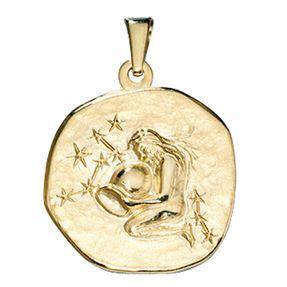Sternzeichen Wassermann, Anhänger aus 333 Gold Gelbgold