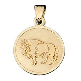Stier - Ketten Anhänger Goldanhänger, 333 Gold, rund