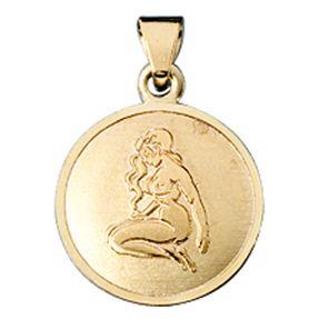 Jungfrau - Ketten Anhänger Goldanhänger, 333 Gold, rund