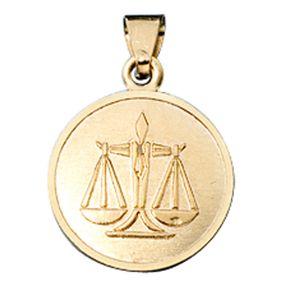 Waage - Ketten Anhänger Goldanhänger, 333 Gold, rund