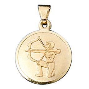 Schütze - Ketten Anhänger Goldanhänger, 333 Gold, rund