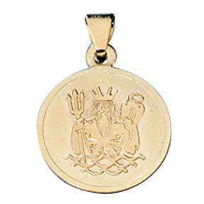 Wassermann, Ketten Anhänger Goldanhänger, 333 Gold rund