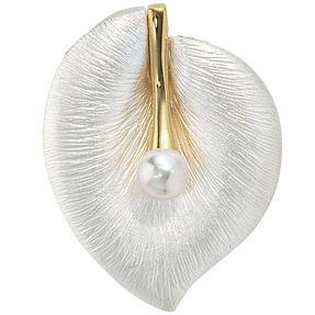 Blatt - Damen Anhänger Perle 925 Echt Silber vergoldet