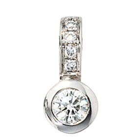Schmuck Anhänger, 6 Diamanten Brillanten, 585 Weißgold