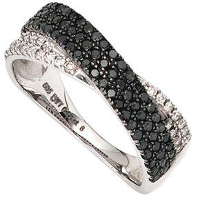 Ring Damenring, 100 Diamanten Brillanten, 585 Weißgold