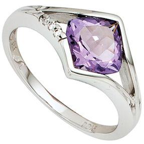 Ring Damenring mit Amethyst & 3 Diamanten Brillanten, 585 Weißgold