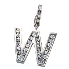 """Buchstabe """" W """" Ketten Anhänger Einhänger Charm Charms, 925 Silber"""
