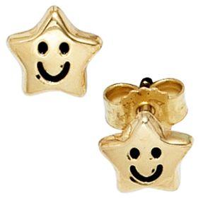 Ohrstecker Stecker Sterne mit Gesicht, 333 Gold Gelbgold