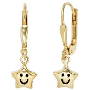 Ohrringe Ohrhänger Sterne mit Gesicht, 333 Gold Gelbgold