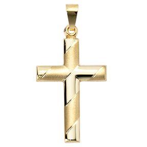 Goldanhänger Anhänger Kreuz aus 333 Gold Gelbgold, diamantiert