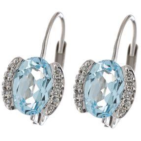 Ohrringe Ohrhänger aus 585 Weißgold mit Topas Blautopas & 20 Diamanten