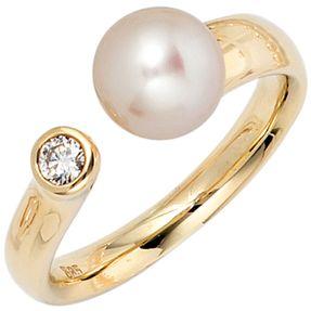 Ring Damenring aus 585 Gold Gelbgold, mit Perle & Diamant Brillant