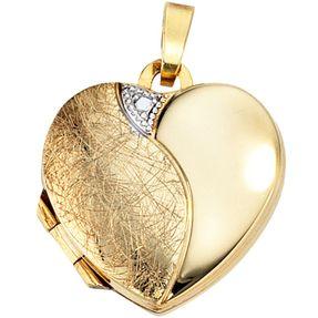 Medaillon Anhänger Herz zum Öffnen, 333 Gold Gelbgold, teileismatt