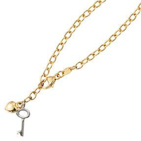 Fußkettchen Fußkette Herz mit Schlüssel, 585 Gelbgold & Weißgold