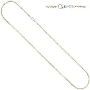 Ankerkette Kette Halskette aus 585 Gold, Gelbgold & Weißgold, 45cm