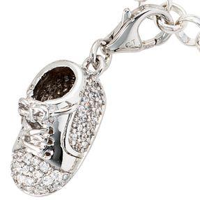Einhänger Charm Charms Babyschuh Schuh mit Zirkonia, 925 Silber