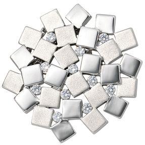 Schmuck Anhänger mit 10 Zirkonia, 925 Echt Silber, teilmattiert