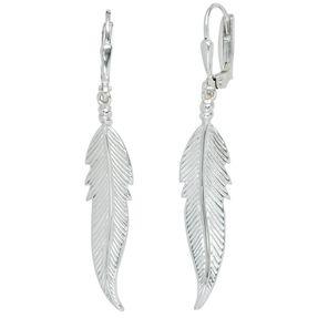 Damen Ohrringe Ohrhänger Feder aus 925 Silber Sterlingsilber