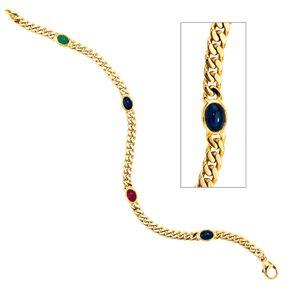 Armband mit Saphir Smaragd Rubin Cabochons, 585 Gold Gelbgold massiv