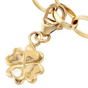 Einhänger Kleeblatt mit Zirkonia, 333 Gold Gelbgold, Glück Charm Charms