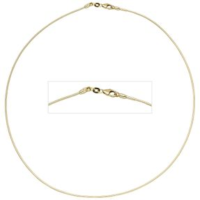 1,1mm Halsreif Reif Kette Collier, 585 Gold Gelbgold, Omegakette, 42cm