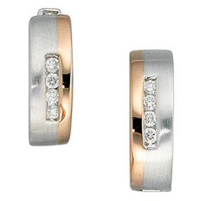 Creolen Ohrringe mit 8 Diamanten Brillanten, 585 Weißgold & Rotgold