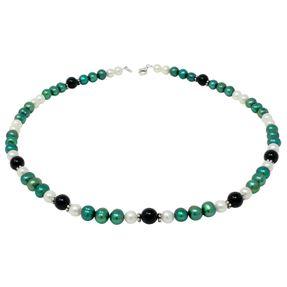 Halskette-aus-Perlen-weiss-gruen-und-Onyx-50cm