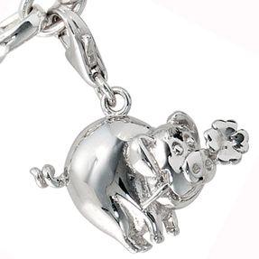 Einhänger Glücksschwein, Charm Charms aus 925 Silber Sterlingsilber