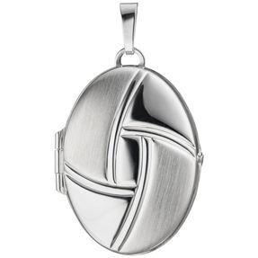 Medaillon Anhänger zum Öffnen aus 925 Silber Sterlingsilber teilmatt