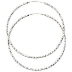 Creolen Creole Ohrringe aus 925 Silber diamantiert, D: 50mm, Damen
