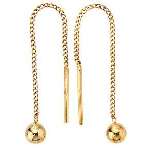 Ohrschmuck Ohrringe Durchzieh-Ohrhänger, 333 Gold Gelbgold, für Damen