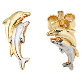 Ohrstecker Delfine aus 333 Gold Gelbgold, rhodiniert bicolor für Damen