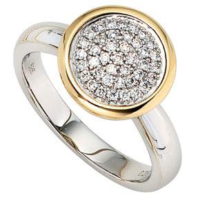 Ring Damenring mit 40 Diamant Brillanten, 585 Gold, bicolor, Damen