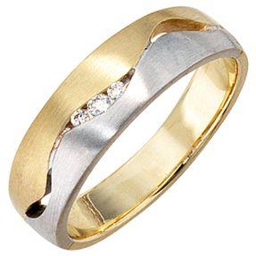 Ring Damenring mit Diamant-Brillanten, 585 Gold gelb weiß, matt, Damen