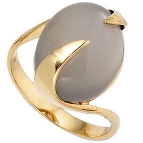 Ring Goldring Damenring, Mondstein, 585 Gold Gelbgold, elegant, Damen