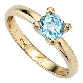 Damenring Ring Goldring, Topas blau, 333 Gold Gelbgold, schlicht Damen