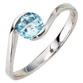 Damenring Ring mit Blautopas Topas blau, 333 Gold Weißgold, für Damen