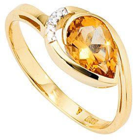 Goldring Ring, Citrin & 4 Diamanten Brillanten, 585 Gold Gelbgold
