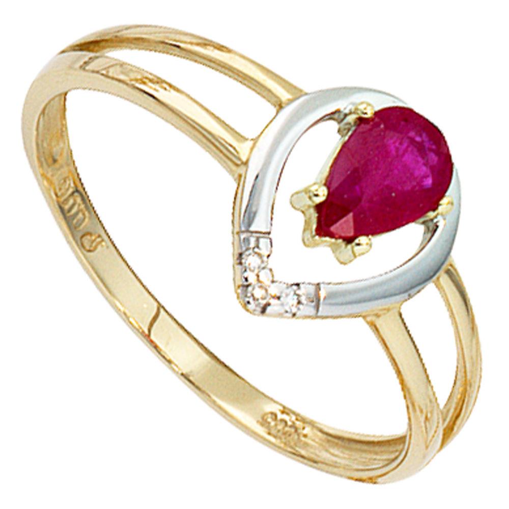 damenring ring mit rubin 3 diamanten brillanten 585 gold gelbgold. Black Bedroom Furniture Sets. Home Design Ideas