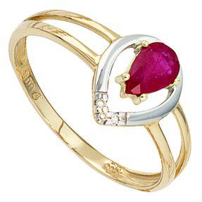 Damenring Ring mit Rubin & 3 Diamanten Brillanten, 585 Gold Gelbgold