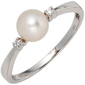 Damenring Ring, Perle & Diamanten Brillanten, 585 Gold Weißgold, Damen