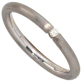 Ring Damenring mit Diamant Brillant, 925 Silber rhodiniert mattiert