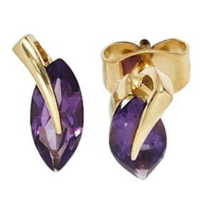 Stecker Ohrstecker mit Amethyst violett, 585 Gold Gelbgold, für Damen