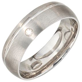 Partnerring Ring mit Zirkonia, 925 echt Silber, mattiert, für Damen